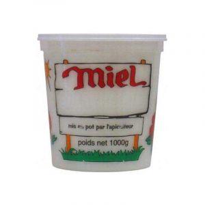 Nicot Carton de 300 pots de 1 kg transparent miel 4 couleurs (PEP) - MATÉRIEL APICOLE FRANÇAIS EN PLASTIQUE ALIMENTAIRE