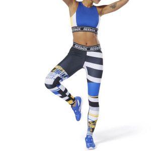 Reebok Legging imprimé Wor Myt Engineered Noir/Bleu/Jaune - Taille L;M;S;XL;XS