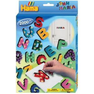 Hama Boîte de 2000 perles à repasser avec plaques : Lettres