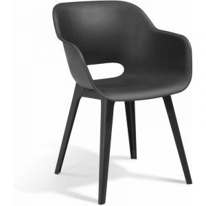 Allibert JARDIN Lot de 2 fauteuils Akola - Coque graphite - En résine de synthèse - Dimensions : 56x55x80cm - A monter soi-même.