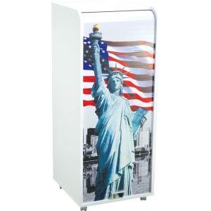 Caisson de bureau à rideau imprimé Drapeau Americain 3 tiroirs