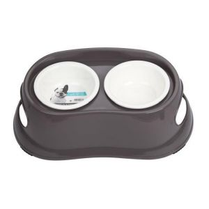 M pets Gamelle en plastique double ronde PLASTIC BOWL - Pour chien - 2x800ml - Coloris divers - Gamelle double - Système antidérapant