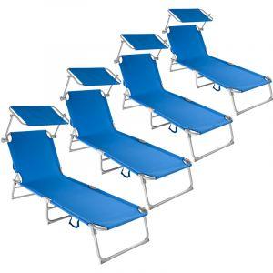 TecTake 4 Chaises longues de jardin, Transat, Bain de soleil, Pare Soleil, Multi positions, Pliables 190 cm Bleu