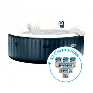 Intex Spa gonflable PureSpa Plus Bulles 6 personnes + 12 Cartouches Pure Spa