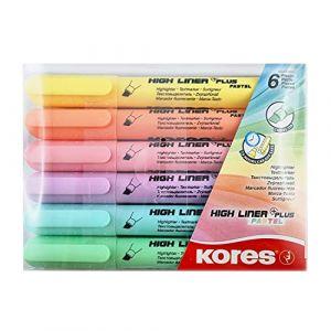 Kores Surligneur -HIGH LINER PLUS-, couleurs pastel, 'tui 6 0,000000 Noir