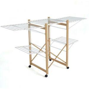 Kitchen Move Sechoir à linge USHUAIA modulable multifonction GRANDE CAPACITÉ L178xl61xH105 en Acier imitation bois