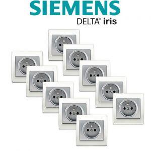 Siemens LOT 10 Prise 2P+T Silver Delta Iris + Plaque basic Blanc