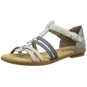 Rieker 64288 Women Gladiator, Sandales Femme - Blanc (ice/rose/azur/grey/80), 41 EU