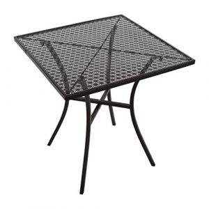 Bolero Table bistro carrée en acier ajouré noire 700mm