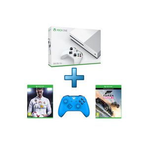 Microsoft Xbox One S 500 Go + Forza Horizon 3 + Hot Wheels + FIFA 18 + Manette bleue