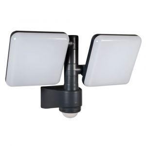 Tibelec Projecteur Extérieur gris LED double avec détecteur IFR