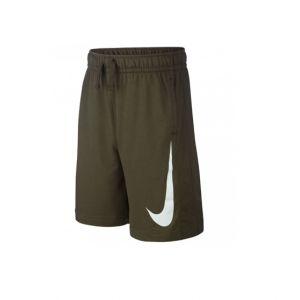 Nike B NSW Swoosh Ft Short Garçon, Gris foncé chiné/Blanc, L