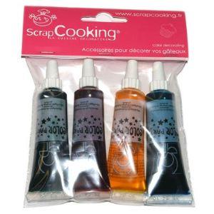 Scrapcooking Colorants alimentaires artificiels liquides 4 couleurs (rouge, jaune, bleu et vert)