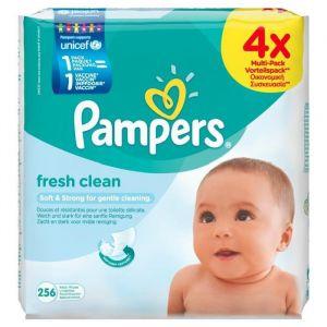 Pampers Fresh Clean - Lingettes Bébé 4 paquets de 64 (x 256 Lingettes)
