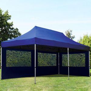 Intent24 Tente Pliante 3x6m Pes 300 G/M² Bleu Imperméable Barnum Pliant, Tonnelle Pliante, Tente De Jardin