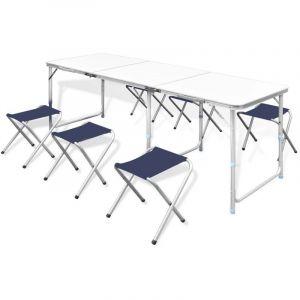 VidaXL Table pliante de camping hauteur ajustable avec 6 tabourets