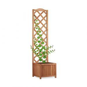 Relaxdays Jardinière avec treillis bac à fleurs treillage bois jardin pot plantes résistant 25 litres 150 cm, nature
