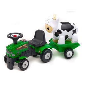 Falk Farm Master - Porteur tracteur Mustang 350s avec remorque et vache gonflable