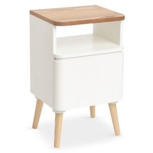 lestendances table de chevet scandinave bergen blanc et bois