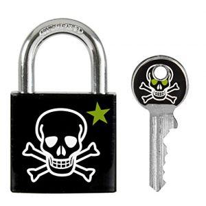 """Master Lock Cadenas pour vestiaire ou casier, à motifs imprimé""""Tête de mort"""", corps de 30mm de large, serrure à clé, tête de clé assortie"""