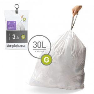 Simplehuman Sacs poubelle Pocket Liners 30 L Code G