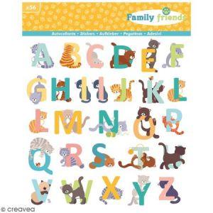 Artémio Autocollant Alphabet Family Friends Chats