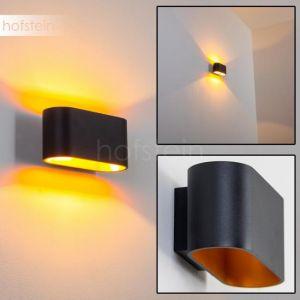 Hofstein Applique murale Dapp en métal noir et or, lampe d'intérieur au style épuré créant un effet lumineux au mur, pour une ampoule G9 max 40 Watt, compatible ampoules LED