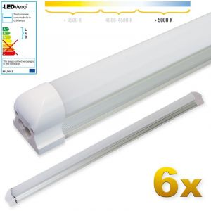 Ledvero 6x SMD réglettes lumineuses LED T8 G13 tube en blanc froid couvercle laiteux - 90 cm, 14 W, 1400lumen- prêt pour l'installation