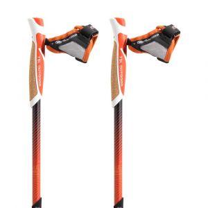 TSL Outdoor Bâtons de randonnée Trail Carbon Cork Spike 2 Units - Red / Yellow - Taille 110 cm / S