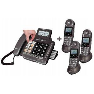 Geemarc Amplidect Combi 355 Quattro - Combiné téléphone filaire + 3 combinés sans fil avec répondeur
