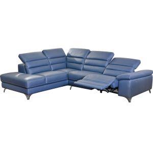 Comforium Canapé d'angle design avec relax électrique et méridienne gauche en cuir synthétique bleu