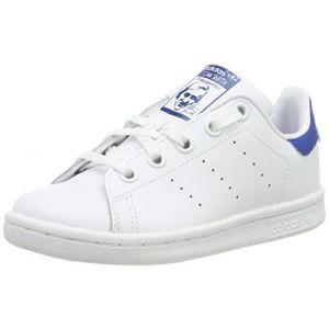 Adidas Stan Smith, Sneakers Basses Mixte Enfant, Blanc (Footwear White/Footwear White/EQT Blue 0), 35 EU