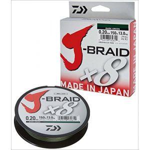 Daiwa J-Braid 8 Braid 0.22mm, 17.0kg / 37.5lbs, 300m vert foncé, ligne de pêche tressée ronde