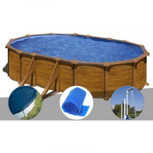Gre Kit piscine acier aspect bois Mauritius ovale 5,27 x 3,27 x 1,32 m + Bâche hiver + Bâche à bulles + Douche