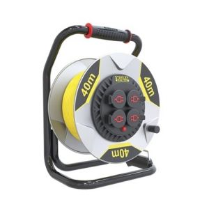 Perel Stanley fatmax professional neoprene cable reel with anti-twist system - 40 m - 3g2.5 - 4 sockets