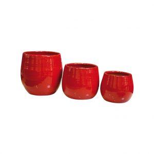 Pot Cancale coquelicot en terre cuite émaillée H 17 x Ø 17 cm