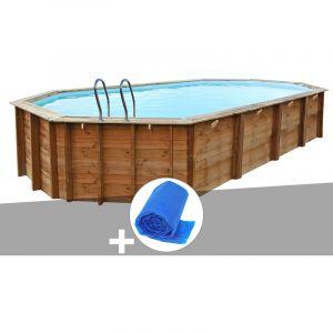Sunbay Kit piscine bois Sevilla 8,72 x 4,72 x 1,46 m + Bâche à bulles