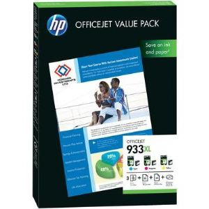 HP CR711AE - Pack Cartouches d'encre 933XL Officejet Value Pack (cyan / magenta / jaune) + 25 feuilles A4 180 g/m² + 50 feuilles A4 80 g/m²