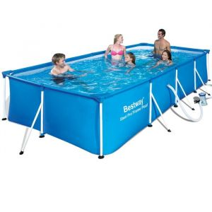 Bestway Piscine tubulaire rectangulaire stell pro frame 4.00 x 2.11 x h.0.81 m