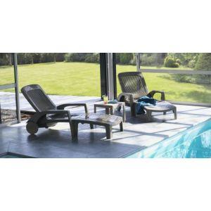 Image de Grosfillex Lot de 2 bains de soleil fidji 2 couleur taupe