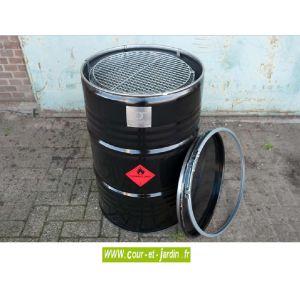 Barrel Barbecue charbon de bois forme baril grand modèle + housse de protection