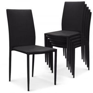 Declikdeco Lot de 6 chaises noires en simili PRIYA