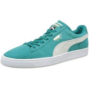 Puma Suede Classic+, Sneakers Basses Mixte Adulte, Vert (Navigate White-Gold 18), 43 EU