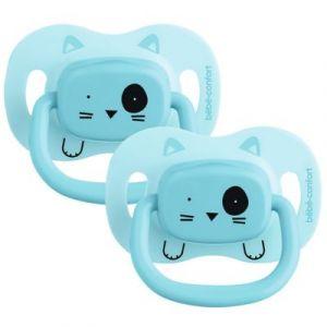 Bébé Confort 2 Sucettes Reversible Silicone 0/6 - Bleu - Minimalist Animals