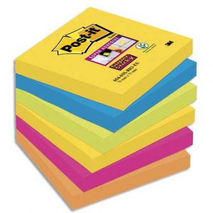 Post-It Bloc Super Sticky 100 feuillets 76 x 76 mm Rio x 6