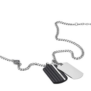 Diesel Collier et pendentif Bijoux DX1040040 - LEATHER JACKET Acier Chromé 60 + 5 cm Homme