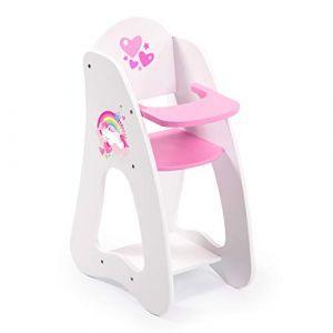 Bayer Design Mobilier Princess World-Chaise Haute-Accessoires de poupées, 50103AA, Blanc, Rose