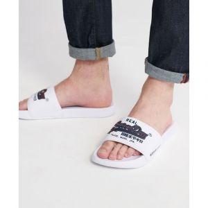 Superdry Vintage Logo Pool Slide, Chaussures de Plage & Piscine Homme, Blanc