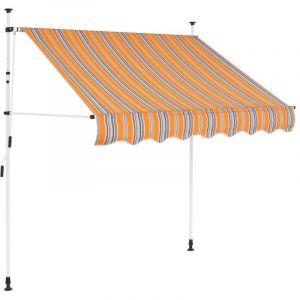 VidaXL Auvent rétractable manuel 150 cm Rayures jaunes et bleues