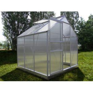 Chalet et Jardin Serre en polycarbonate et aluminium naturel 3,7 m² avec base - LA MAISON DU JARDIN